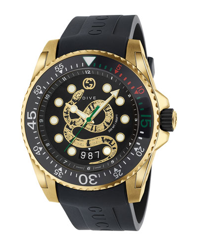 c25ce5b252aa14 Quick Look. Gucci · Men s Dive King Snake Gold PVD Watch ...