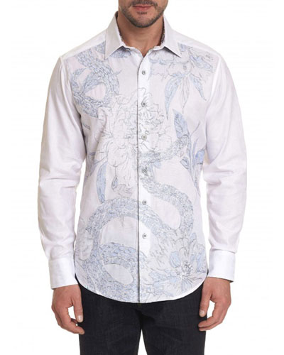Men's Burns Snake-Embroidered Sport Shirt