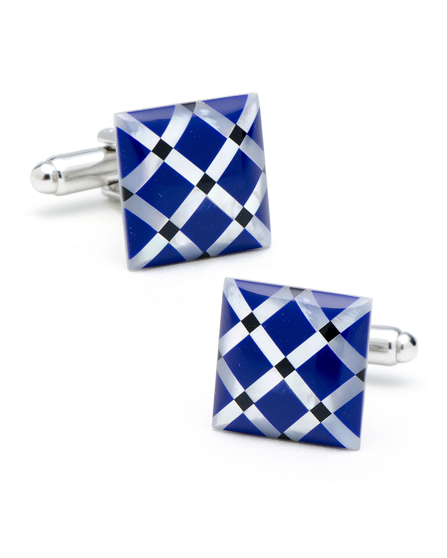 Diamond-Pattern Cufflinks w/ Stones
