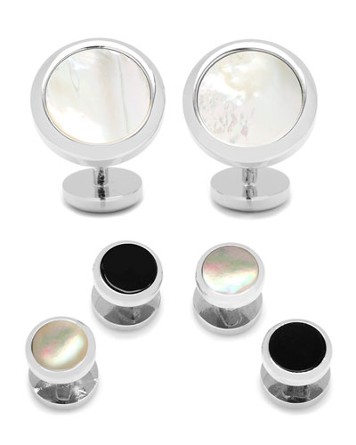Double-Sided Onyx & Mother-of-Pearl Cuff Links & Stud Set, Silver