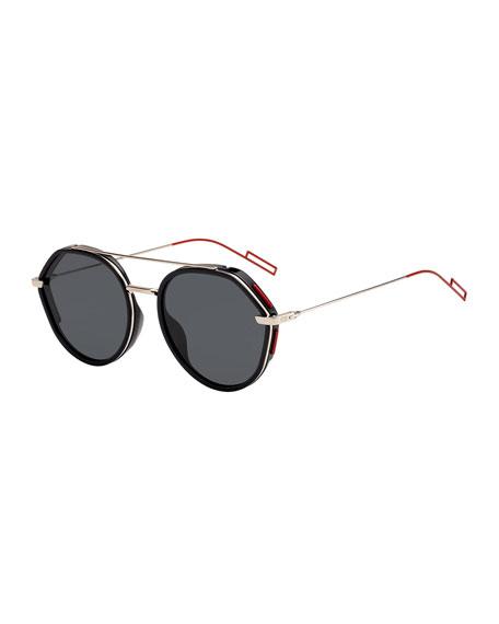 Dior Men's Round Metal/Acetate Sunglasses with Double Bridge