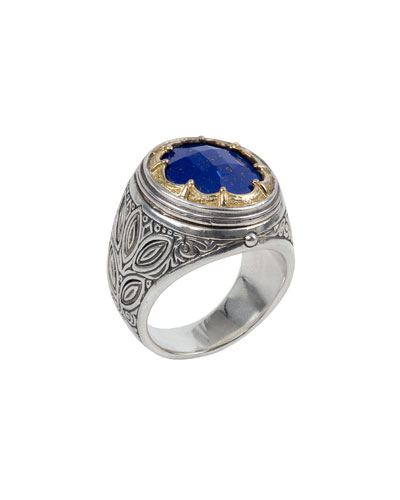 Men's Sterling Silver & 18k Gold Ring w/ Lapis Lazuli Inset