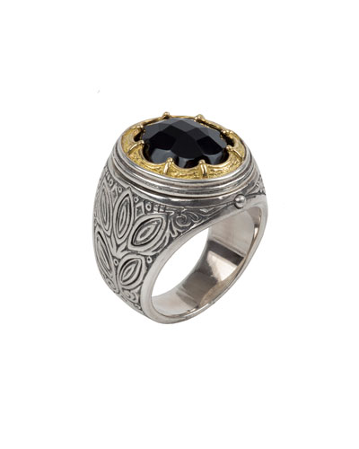 Men's Onxy-Inset Sterling Silver Ring w/ 18k Gold Trim