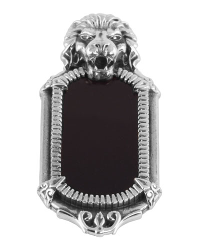 Men's Onyx-Inset Lion Pendant