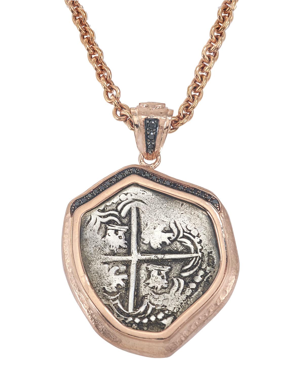 Santa Rosa Coin Pendant in 18k Rose Gold w/ Black Diamonds