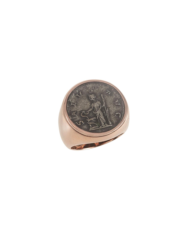 Men's Ancient Salus Coin 18K Gold Ring