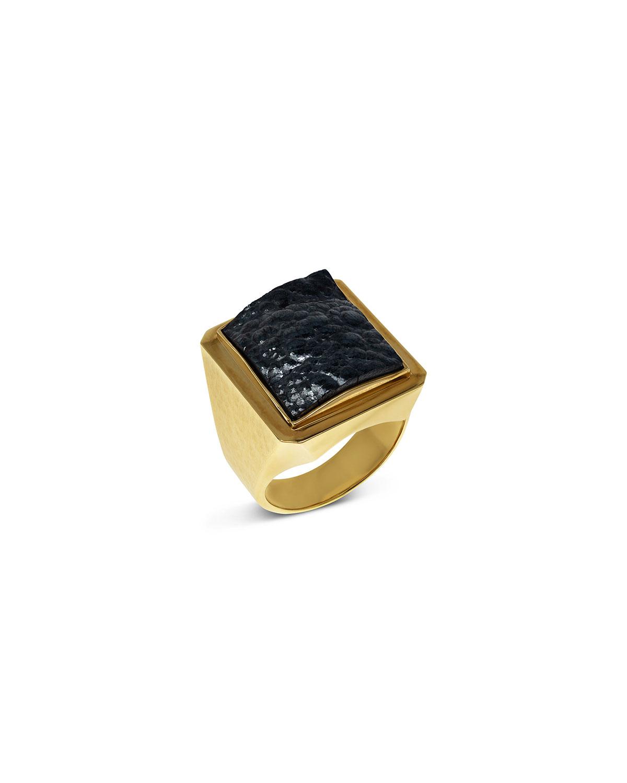 Men's Hematite 18k Gold Ring