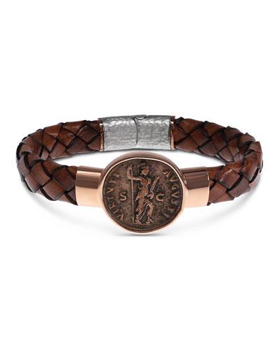 Men's Ancient Virtus Coin Braided Leather Bracelet