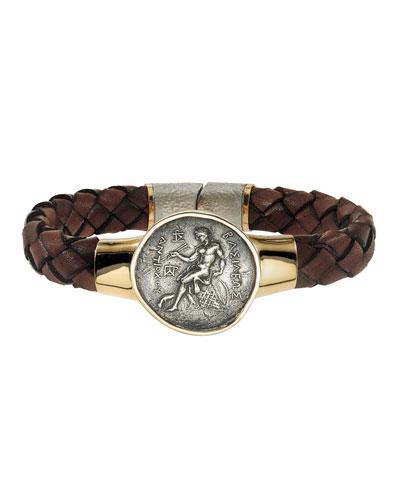 Men's Ancient Apollo Coin Braided Leather Bracelet