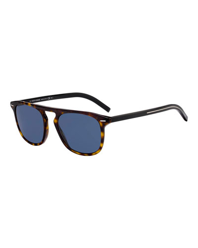 Men's Black Flat-Top Plastic Sunglasses