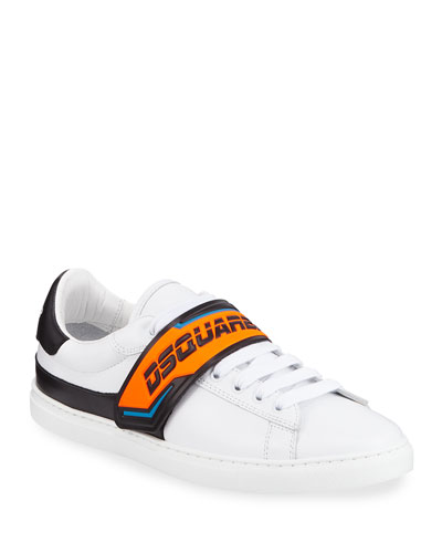 Men's Neon Grip-Strap Leather Sneakers