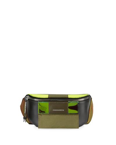 Men's Small Leather Belt Bag w/ Canvas Trim