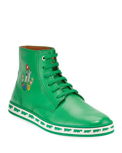 Men's Alpistar Leather High-Top Sneakers, Green