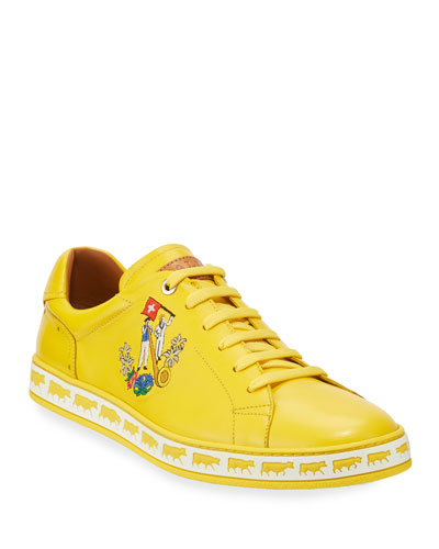 Men's Anistern Leather Low-Top Sneakers, Yellow
