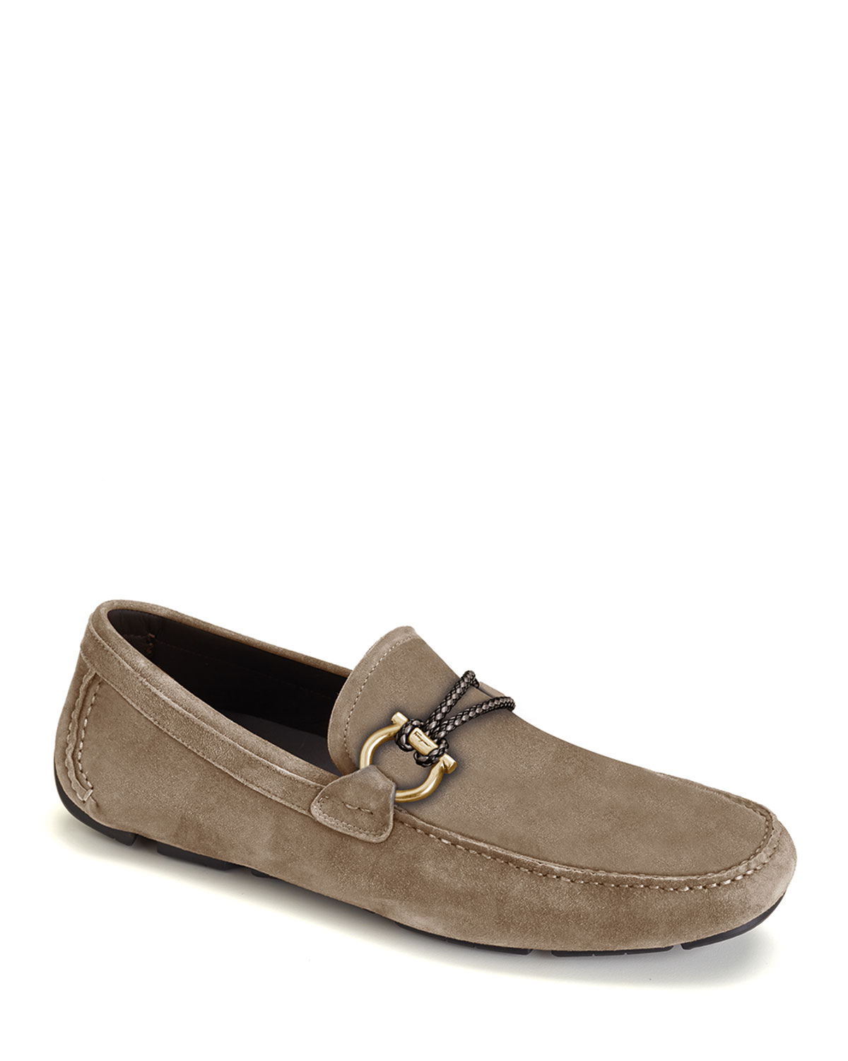 Salvatore Ferragamo Shoes MEN'S FRONT 4 SUEDE DRIVERS WITH BRAIDED DETAIL