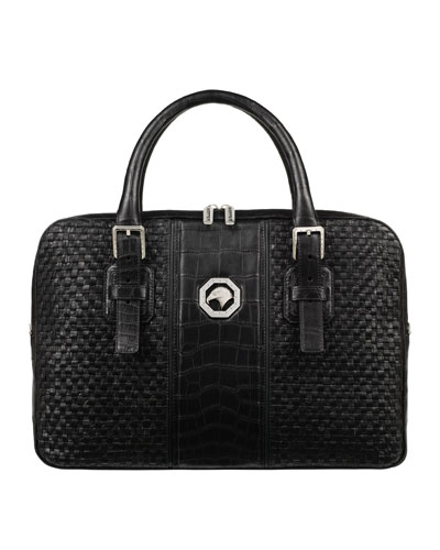 Men's Woven Leather Business Bag w/ Crocodile Trim