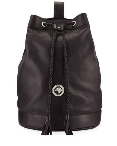Men's Leather Drawstring Bucket Bag