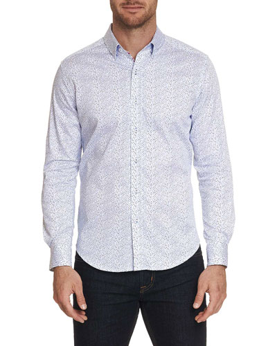 Men's Becan Trim Fit Dot-Pattern Sport Shirt
