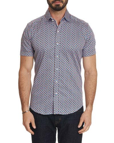 Men's Myron Trim Fit Micro-Floral Short-Sleeve Sport Shirt