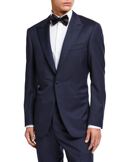 Canali Wool Two-Piece Tuxedo Suit with Satin Peak Lapel