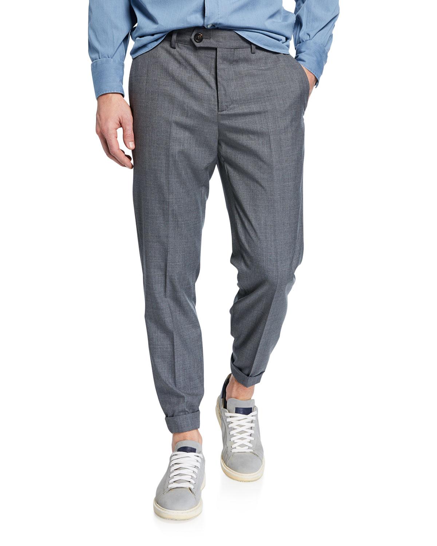 Men's Lightweight Wool Flat-Front Pants
