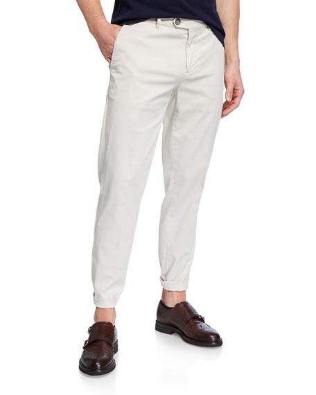 Brunello Cucinelli Men's Flat-Front Twill Pants