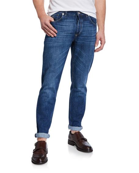 Brunello Cucinelli Men's Medium-Wash Basic-Fit Denim Jeans