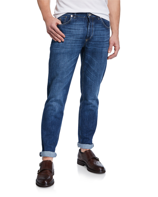 Men's Medium-Wash Basic-Fit Denim Jeans