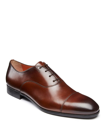Santoni Men's Salem Leather Lace-Up Loafers, Brown