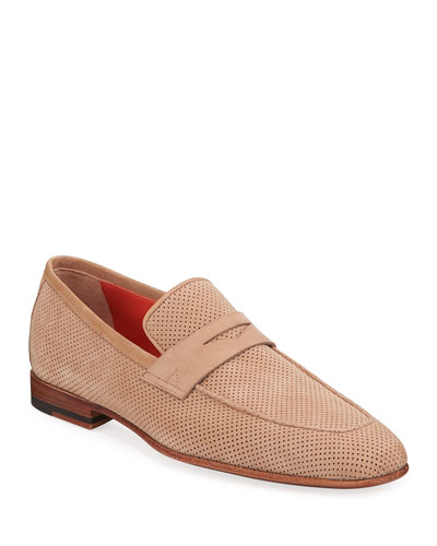 Men's Foster Perforated Nubuck Penny Loafers