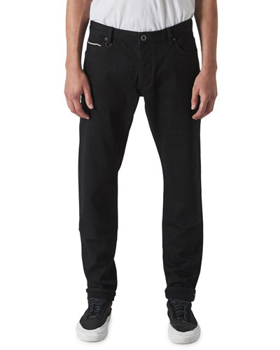 Men's Lou Slim Dark-Wash Jeans, Black Selvedge