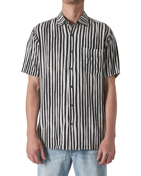 Neuw Men's Work Stripes Pocket Short-Sleeve Sport Shirt