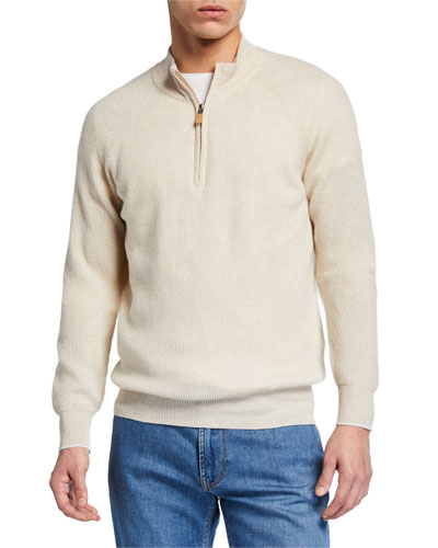 Men's Crown Cool Coastal Rib Quarter-Zip Sweater