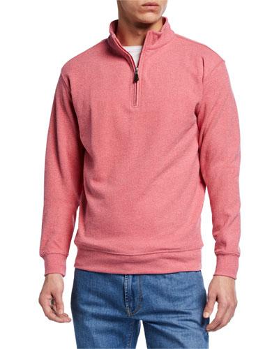 Men's Quarter-Zip Tri-Blend Melange Fleece Sweater