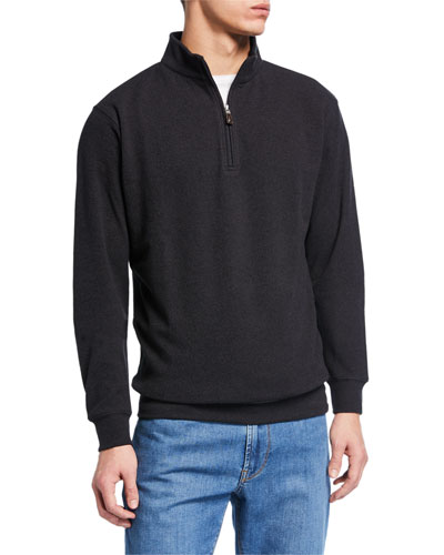 Men's Quarter-Zip Melange Tri-Blend Fleece Sweater