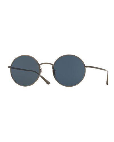 Men's After Midnight Round Metal Sunglasses
