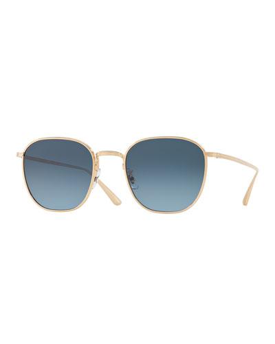 Men's Board Meeting 2 Square Gradient Titanium Sunglasses