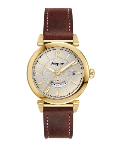 Men's Feroni Gold IP GMT Watch with Brown Leather Strap
