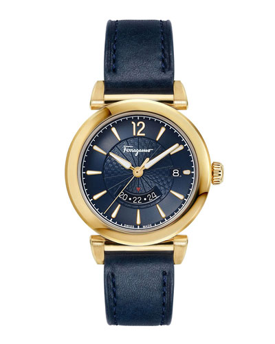 Men's Feroni Gold IP GMT Watch with Blue Leather Strap