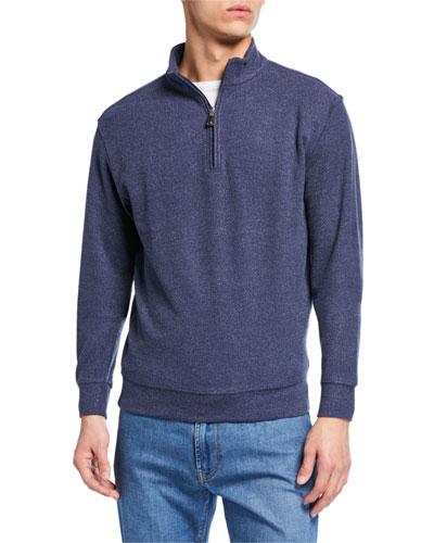 Men's Quarter-Zip Melange Tri-Blend Fleece Sweater