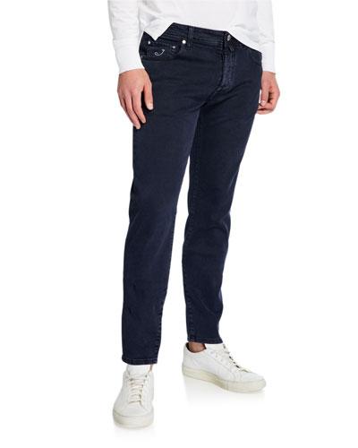Men's Dark-Wash Tapered Jeans
