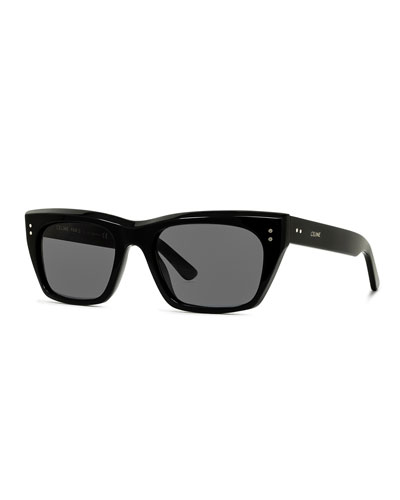 Men's Square Acetate Sunglasses, Black