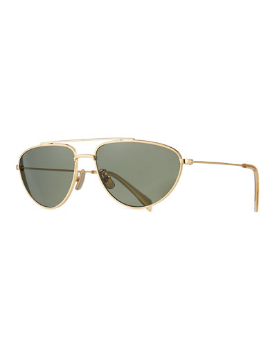 Men's Metal Pilot Sunglasses, Gold