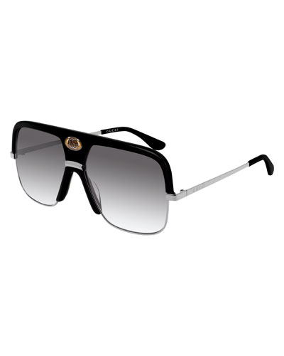 Men's Aviator Sunglasses with Exaggerated Logo Brow