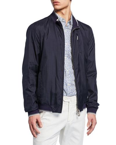 Men's Sport Contrast-Trim Silk Jacket