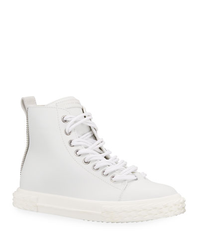 Men's Blabber High-Top Leather Sneakers, White