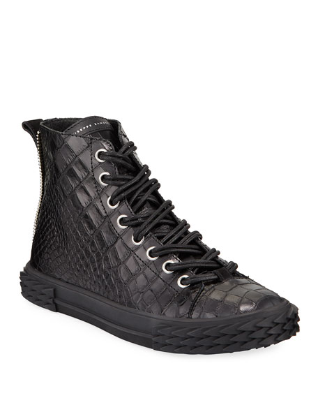 Giuseppe Zanotti Men's Blabber Croc-Embossed High-Top Sneakers