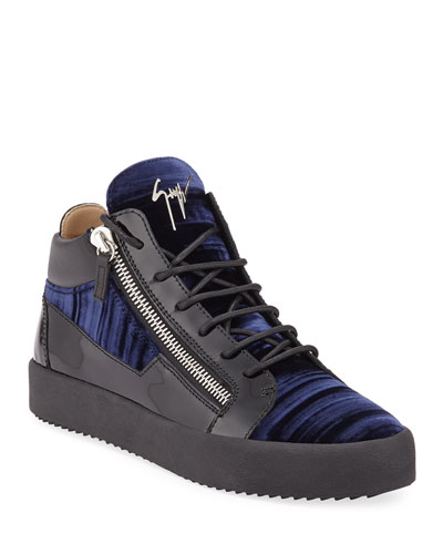 Men's Velvet Mid-Top Zip Sneakers