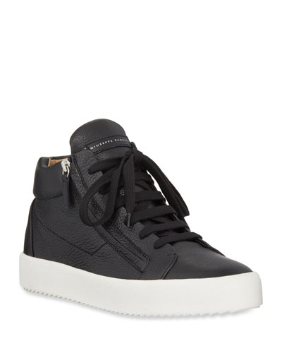 Men's Updated Double-Zip Leather Sneakers