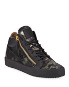 Giuseppe Zanotti Men's Camo Double-Zip Mid-Top Sneakers